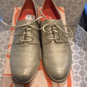 Via Spiga gold metallic oxfords